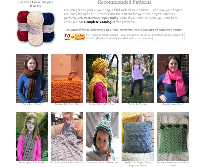 Pattern Ideas for Kraemer Yarn Super Bulky